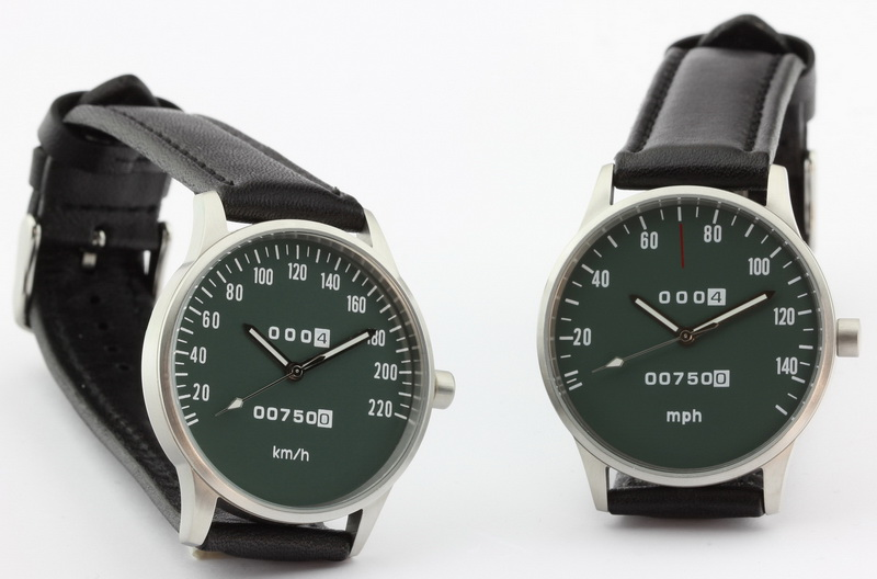 CB 750 Four Speedometer watch kmh and mph versions with green dial